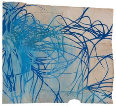 Maysey Craddock, threading the distant blue gouache and thread on found paper Threading, American Artists, Gouache, Contemporary, Gallery, Drawings, Artwork, Prints, Blue