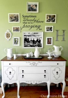 Our Prairie Home: Sideboard Buffet in La Craie Magnolia. I love the photo wall displays and the sideboard buffet. Beautiful home decor ideas. <3