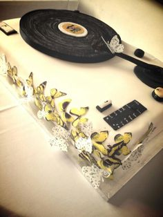 Our incredible record player wedding cake, made by my awesome sister
