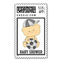 Soccer baby shower custom postage stamps.  USPS approved for use in the USA.
