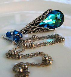 New Swarovski Bermuda Blue Crystal Antique Silver Vintaj Filigree Teardrop Pendant Necklace