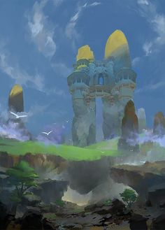 The Art Of Animation, Roman Roland Kuteynikov - . Gothic Aesthetic, Tumblr Art, Fantasy Castle, Fantasy Places, Fantasy Setting, Environment Concept Art, Environmental Design, Fantasy Landscape, Landscape Illustration