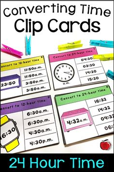 Converting 12 Hour and 24 Hour Time Clip Card Activity Telling Time Activities, Teaching Activities, Teaching Kids, Teaching Resources, Fifth Grade, Third Grade, Classroom Solutions, Teacher Notebook, Math Facts