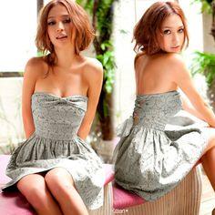 Ribbon Strapless #Mini #Dress