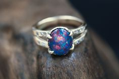 Opal and Diamond Engagement Ring in Solid Gold by the Fox and Stone Custom Wedding Rings, Alternative Engagement Rings, Modern Bohemian, Semi Precious Gemstones, Diamond Engagement Rings, Solid Gold, Opal, Sapphire, Jewelry