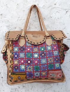 601f51ae52 leather Tribal Vintage banjara bag multi color shoulder bag handwork  embroiedry leather purse Indian hobo handbag mirror work.