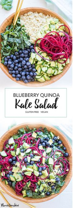 BEAUTIFUL!!! Kale, Blueberry + Quinoa Salad with Spiralized Beets #homespa #healthy #foodstyling #weightloss #veggielove #protein