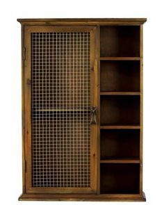 Wooden Wall Cabinet with Netted Door and Open Shelves -  This cabinet has an elegant color with wooden pattern and patchy effect. This cabinet has a cupboard with lovely handle and five shelves at the side. You can place this wooden cabinet in your home or workplace. This cabinet has an elegant and vintage look that will blend into any environment with ease be it traditional or modern.