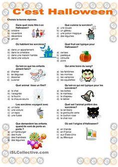 """Cette feuille fait partie de ma série """" C'est Halloween"""". Les élèves doivent lire les options et trouver la bonne réponse. Les images peuvent aider. Dans la même série il y a aussi un dictionnaire. - Fiches FLE"""