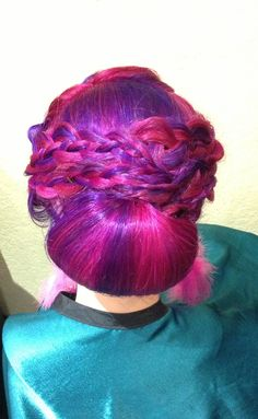 Great Multicolored Updo! Perfect style for a wedding!
