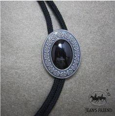 corbata de bolo cordón oeste ónix negro plata fcf343205a1