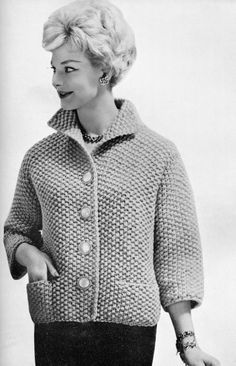 Knit Cardigan Pattern, Sweater Knitting Patterns, Jacket Pattern, Knit Patterns, Wool Cardigan, Vintage Knitting, Vintage Crochet, Baby Knitting, Cardigans For Women