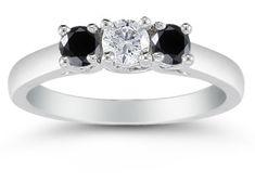 Bijoux Tendance : Carat Three Stone White and Black Diamond Ring White Gold Black Diamond Jewelry, Diamond Rings, Diamond Engagement Rings, Traditional Engagement Rings, Three Stone Rings, 2 Carat, Gems Jewelry, White Gold, Wedding Rings