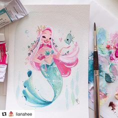 "with ・・・ 💕 A gift for a very, very, very patient friend from a while back. 🙈 😘 💦 💦💦 🐠 Inspiração ""Ariel"" ""A Pequena Sereia"" Mermaid Drawings, Mermaid Art, Mermaid Paintings, Vintage Mermaid, Mermaid Tails, Watercolor Mermaid, Tattoo Mermaid, Unicorns And Mermaids, Mermaids And Mermen"