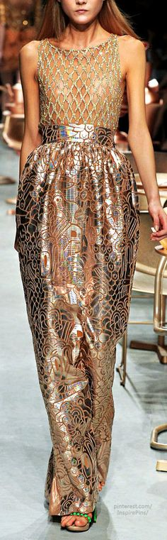 Manish Arora ~ Spring Gold + Copper Metallic Gown, 2012