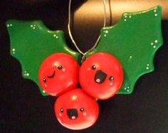 Kawaii Happy Holly Berries Christmas Ornament - Polymer Clay Limited Edition Decoration - Ready to Ship. $17.00, via Etsy.