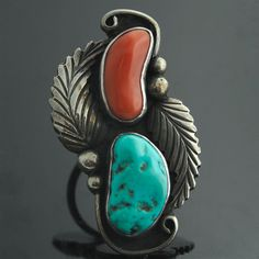 Ring |  Vintage Navajo.  Sterling silver, turquoise and coral