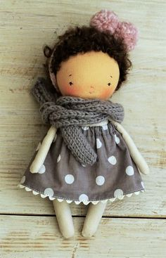 Image of Little handmade cloth doll with her pink pom-pom 7 inches tall