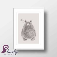 Bear Poster  Teddy Bear  Nursery Decor  Kids  by LovelyWallPrints