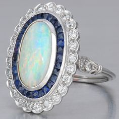 Art Deco Opal Sapphire Ring