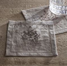 18Th C. English Armorial Crest Cocktail Napkins (Set of 4) - Fog