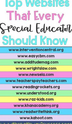 Special education teachers and regular education teachers can use these websites to help students on all levels! Great for intervention supports, behavior plans, understanding disabilities, progress monitoring, developing lesson plans, and more. #pathway2success #specialeducation Behavior Plans, Progress Monitoring, Special Education Teacher, Lesson Plans, Online Marketing, Entertaining, Students, How To Plan, Gaming Setup