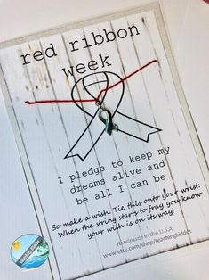 RED RIBBON week kid or adult friendship bracelet for October gift - proceeds go to CHARITY Red Ribbon Week, White Ribbon, Ribbon Bracelets, Wish Bracelets, Red Week, Think Positive Thoughts, Carbonated Drinks, Drug Free, School Gifts
