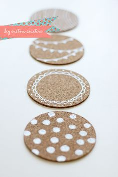 Super easy DIY and a great gift idea! DIY cute custom coasters from FellowFellow Diy Coasters, Custom Coasters, Wooden Coasters, Craft Gifts, Diy Gifts, Handmade Gifts, Diy Décoration, Easy Diy, Diy Projects To Try