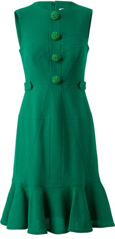 Erdem Kelis Crepe Wool Dress with Decorative Buttons