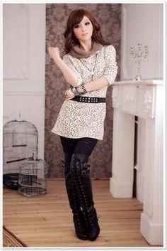 Japaneses Style Womens fashion Leopard Long Dress  Item Code:  CK1574+Beige  Wholesale Price:  US$10.99