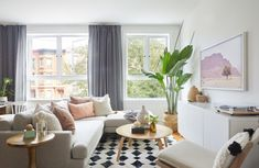 This serene Brooklyn condo designed by Andrea Jaramillo for a just-married couple is a lesson in blending various design styles. Step inside the layered, Moroccan-inspired home here! Dream Living Rooms, Boho Living Room, Minimalist Living Room Decor, Small Apartment Decorating Living Room, Living Decor, First Apartment Decorating, Living Room Decor, Living Room Furniture, Room Decor