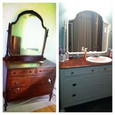The antique dresser we used as our bathroom vanity!