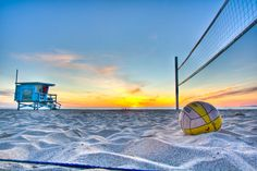 On the beach, beach volleyball court, beautiful sunset can anyone say Blakeleys life?;)