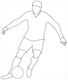 Simple Guidance For You In Sketches Of Soccer Players Football Player Drawing, Soccer Drawing, Football Players, Football Lines, Football Quilt, Outline Drawings, Easy Drawings, Football Silhouette, Football Coloring Pages