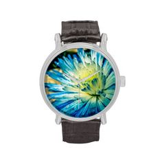 Black Leather Strap Watch with Blue Chrysanthemum