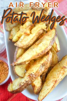 Air Fryer Potato Wedges are a new favorite in our house! They are so quick to make and super crispy and on the table in twenty minutes with just a dash of olive oil!