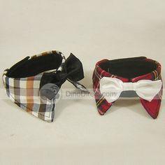 Cute Plaid Bowknot Pattern Cotton Pet Dog Bow Tie