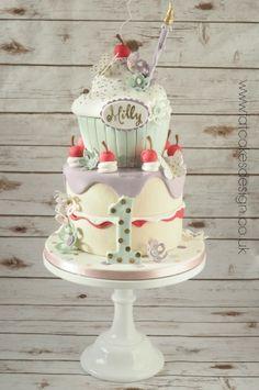 whimsical cupcake stack birthday cake