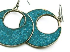 Vintage Turquoise Hoop Earrings Stamped HIGO  by MyChouchou, $5.00