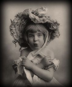 Girl in hat, vintage.