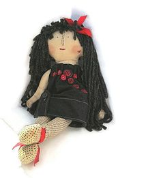 handmade cloth doll MIldred by janeylaughs on Etsy