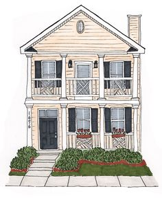 Charleston, South Carolina Home Illustration | Pen and markers | ©Robyn McKeown Design