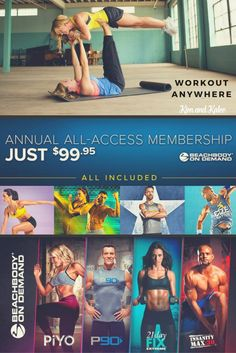 A Beachbody On Demand All Access Membership gives you 600 workouts including 21 Day Fix, PiYo, Core de Force, Insanity, P90X, Country Heat and MORE for less than a $1! Click for FAQs, Pricing and Details on the All Access Beachbody on Demand Pass.
