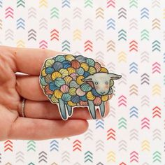 Yarn Sheep Brooch Pin  Choose from Multicolor Yarn Sheep or Grey Grey Yarn Sheep pictured above.  This is my original watercolor illustration on
