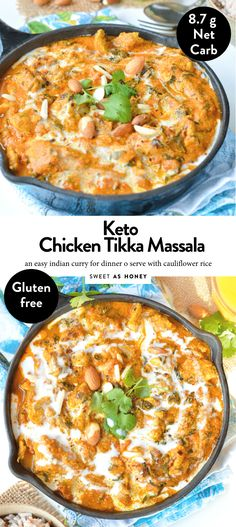 Healthy Chicken Tikka Masala, a delicious low carb comfort foods recipe with delicious Indian spices. Make it vegan, swap the chicken by tofu. Crockpot Recipes, Keto Recipes, Vegetarian Recipes, Healthy Recipes, Dinner Recipes, Dinner Ideas, Hamburger Recipes, Dinner Options, Keto Foods