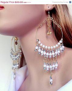 ON SALE Large beaded chandelier earrings  silver by NezDesigns, $14.00