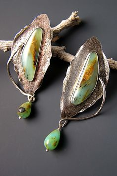 Texture!!! Earrings | Patricia Reinking. Sterling silver, Peruvian opal