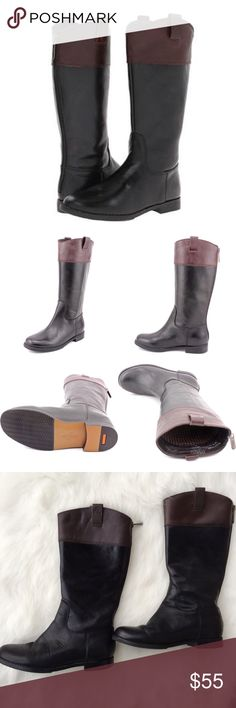 Cole Haan Air Nancy Talk Riding Boot Cole Haan Air Nancy Talk Riding Boot. Please not that these are a CHILDREN'S size 3 boot which in equivalent to and ADULT size 5 shoe. The bottom of the boot is exactly 9 inches in length and at its widest, the boot is 3.5' inches across. Leather upper with a round toe and man made outsole. Pull on with no zipper. Bottom portion is black with brown panel around top of boot. Nike air technology. Both boots have 3 small holes on bottom heel of boot due to…