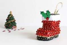 Red and Black Boot Sequin Christmas Tree Decoration | Butterfly-Crafts - Seasonal on ArtFire