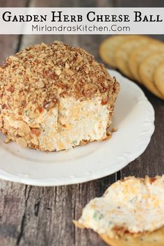 Garden Herb Cheese Ball This easy cheese ball takes 15 minutes and is full of fresh flavor. The combo of sharp cheddar, herbs and smoked almonds is perfection. It never fails to be the hit of a party. Snacks Für Party, Appetizers For Party, Parties Food, Party Games, Appetizer Dips, Appetizer Recipes, Dip Recipes, Fruit Recipes, Potato Recipes